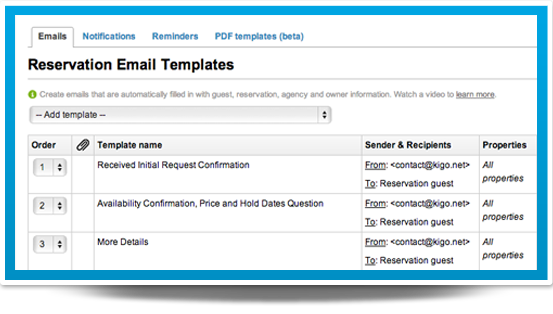 Sample of Kigo email automation