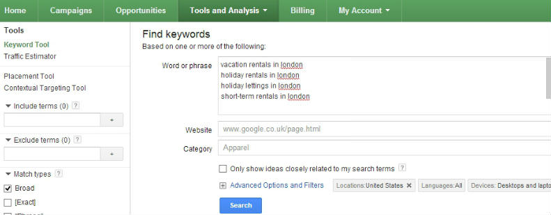 Google Keyword Tool Search Example