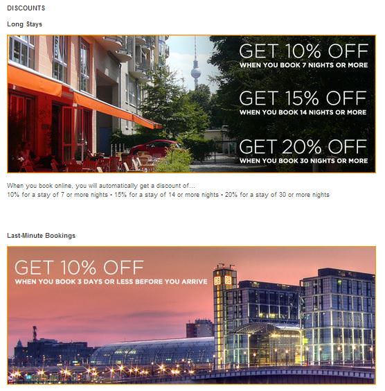 Website Sample of Booking Discounts