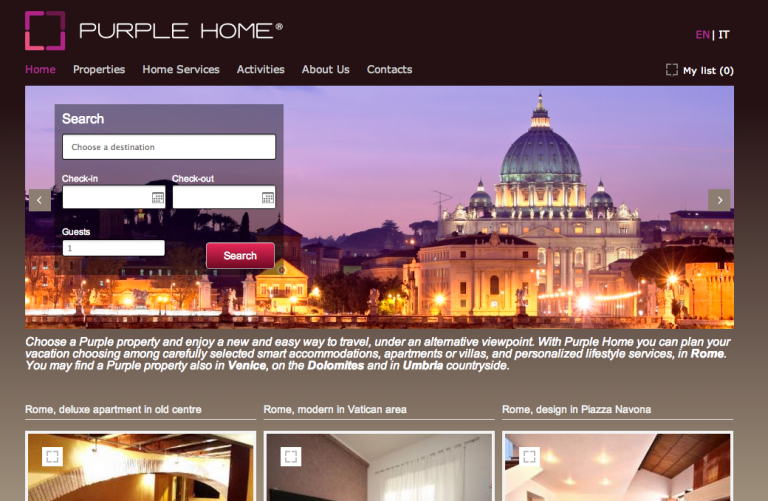 Vacation Rental Website Samples: Purple Home