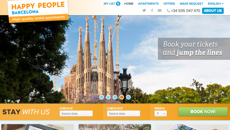 Vacation Rental Website Samples: Happy People Barcelona