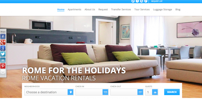 Vacation Rental Website Samples: Rome For The Holidays